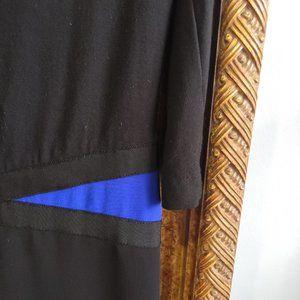 RIANI black tube dress l crowl neck and blue belt